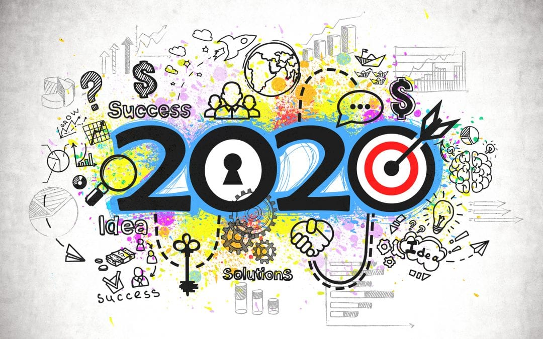 2020 and colorful business sketch drawn on concrete wall in wooden floor room. Concept of new business goals in new year. 3d rendering